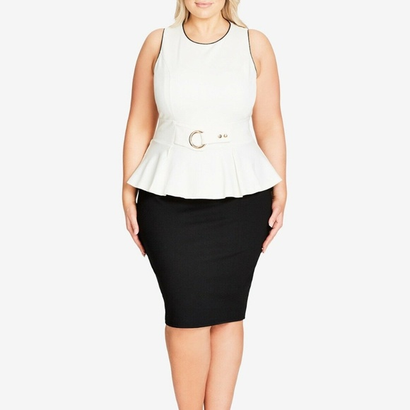 City Chic Trendy Plus Size Peplum Dress, Size 24W NWT